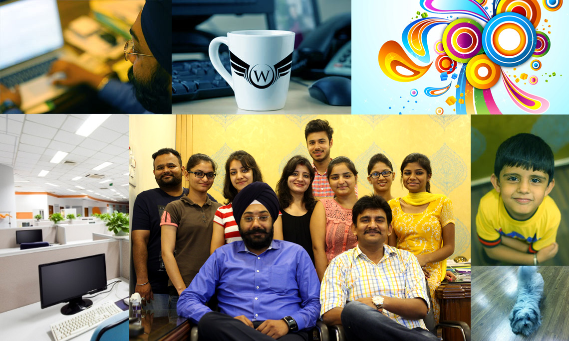 Group of photographs showing the websolutuions india team working through the various stages of website development.