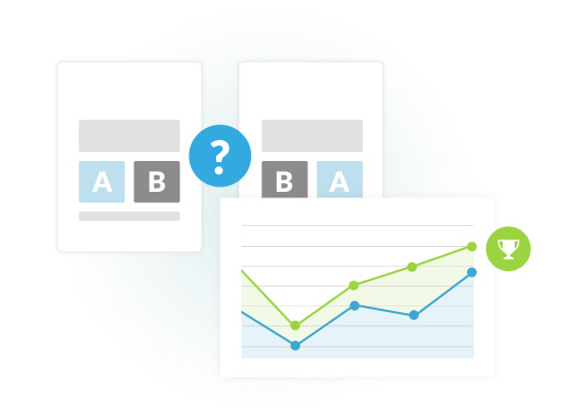 Image depicting the outcome of an A/B conversion test.