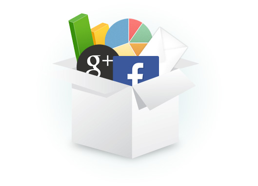 A box full of social network icons and charts