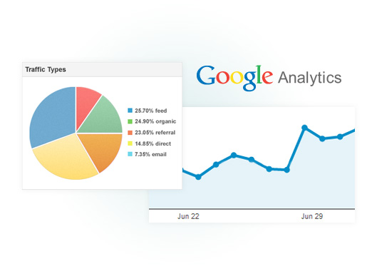 Image showing a Google Analytics graph and pie chart.
