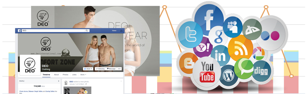 Selection of images including Facebook and Google Analytics screenshot alongside social icons.
