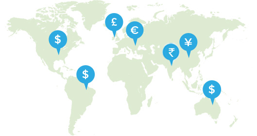World map with map pins showing various currencies.